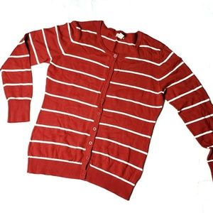 Red & White Long Sleeve Striped Cardigan Sweater